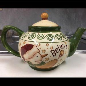 "Earthenware Lang ""Just Believe"" Snowman Teapot"